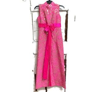 Vintage 1960s gown pink and gold with sash Small